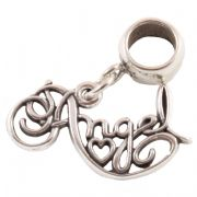 Angel Word Sterling Silver Dangle Charm / Carrier Bead